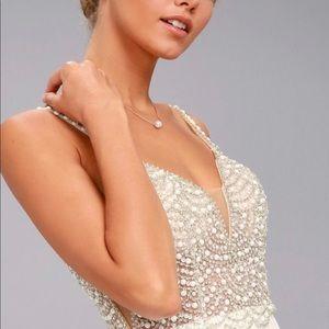 White Beaded Rhinestone Maxi Dress